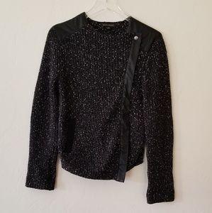 Banana Republic// Black Tweed Moto Style Blazer